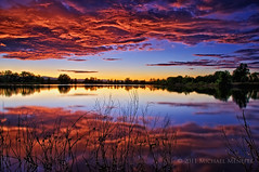 The Third Sunset (Fort Photo) Tags: sunset sky lake reflection nature reflections skyscape evening nikon bravo colorado glow fortcollins co bluehour openspace frontrange hdri larimer exposureblending clff d700 arapahobend