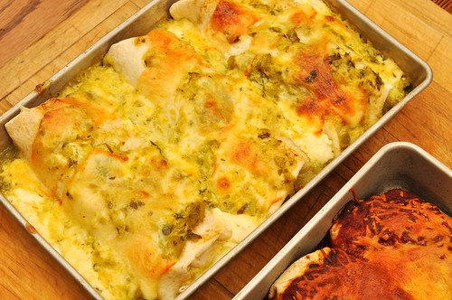 Mmm... chicken enchiladas in sour cream and salsa verde