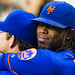 Jose Reyes hugs Jason Isringhausen