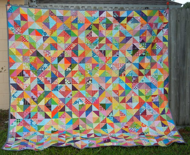 Finished warm/cool quilt - the fence shot