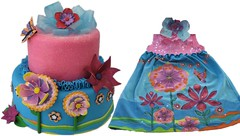 Eliot's dress and cake collage (Cake Diane Custom Cake Studio (eyedewcakes)) Tags: birthday flower cake glitter hair dress bow ribbon fantasyflower