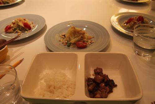 香蘭葉炒雞塊佐長米, 青木瓜沙拉