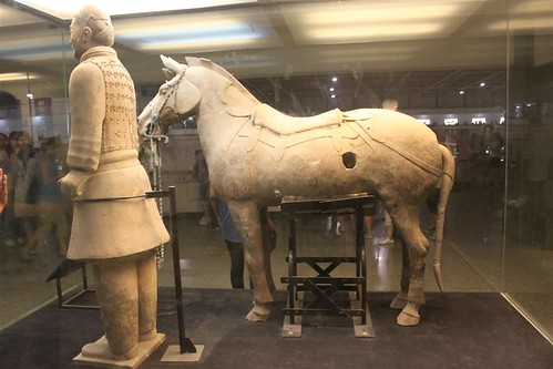 Cavalryman with his horse at Pit No. 2 at Museum of Qin Terra-cotta Warriors and Horses, Xi'an, China