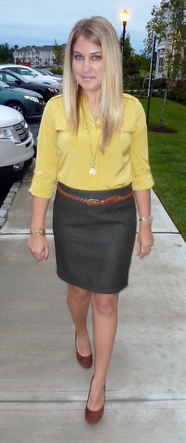 Mustard Blouse Teaching Outfit
