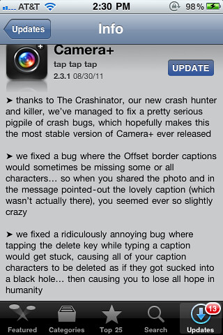I wish more apps would write like Camera+ for their app updates