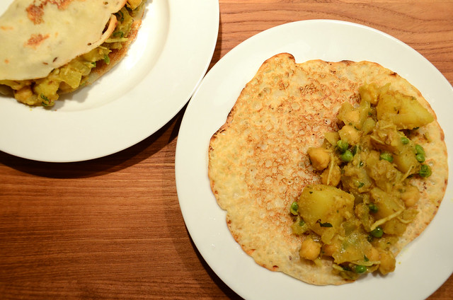 rava dosas with chickpea & potato masala