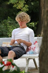 Avignon  a modern Tadzio (Peter Denton) Tags: park boy summer france cute male guy youth bench quiet cigarette candid seat handsome babe smoking blond shorts parkbench avignon tobacco youngman junge rollup hotguy ragazzo vaucluse tadzio hotboy garcon jngling fairhair avenio strawhair canoneos60d peterdenton avennio