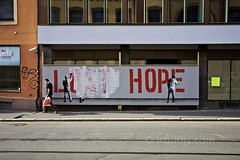 (Lost) Hope - Mural by Martin Whatson - Street Art - Storgata, Oslo, Norway, Sept. 2011 (trondjs) Tags: street city autumn people urban streetart man building oslo norway canon walking lost photography hope graffiti no