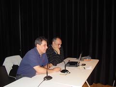 Los entrenadores Miguel Vélez, Ramon Cid y Jon Carla Lizeaga dando una charla en Lobiano