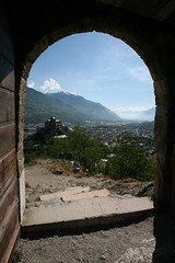 Entrance To Valais (Katka S.) Tags: door city mist mountains alps castle church misty de landscape switzerland stair open framed hill medieval valley frame chateau notre dame chteau wallis sion valais basilique tourbillon valre