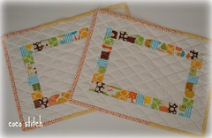 Patchwork, place mat - yellow & orange (coco stitch) Tags: blue orange kitchen yellow placemat patchwork