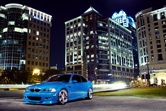 Vinny's BMW M3 (Garrett Wade (v2lab)) Tags: blue lightpainting blur car night canon buildings eos orlando long downtown florida low 7d bmw fl m3 lagunaseca cst stance hamann e46 version2 alienbees illest strobist v2lab crsb fatlace garrettwade