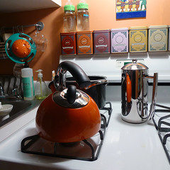stove (ambery) Tags: red orange home kitchen coffee square french soap sink bottles tea gas kettle pots domestic stove pan press burners