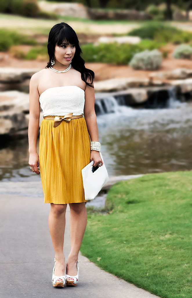 fall wedding dress for guests, forever 21 lace pleats dress, mustard pleated skirt, forever 21 pearl bracelet, steve madden tumbled white slingbacks, aldo feloathe white clutch, sproos pearls wisdom headband, pearl necklace, pearl chandelier earrings