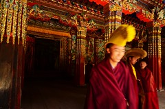 Lama in Langmusi  monastery  (Mel@photo break) Tags: china red colors temple colorful buddha buddhist religion pole mel monastery lama tibetan gansu  langmusi    meinda chanmelmel langmusimonastery