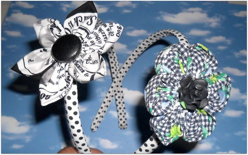 bandoletes com flores fuxico by Fuxiquices-da-isa