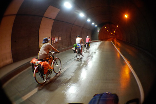 Cycling through tunnels on the Shakotan Peninsula, Hokkaido, Japan