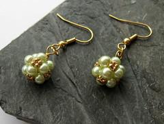 Grape  Cluster (Louise Goodchild) Tags: uk green gold cluster pearls earrings grape seedbeads beadedbead cobwebscache louisegoodchild beadorigami