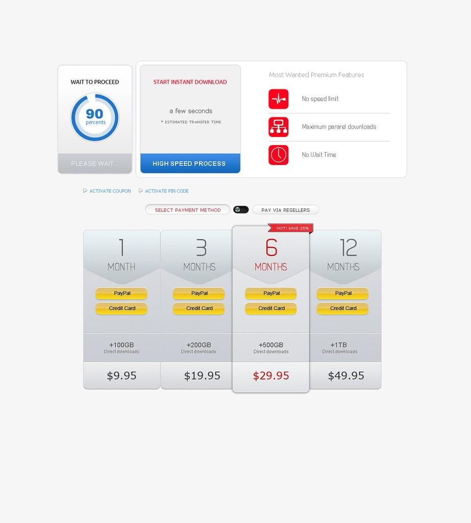 Subtle Pricing Table UI PSD Webdesign Element