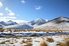 Lindis (watermark photo's) Tags: newzealand snow mountains landscape bluesky southisland otago lindis tussocks