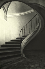 The Winding Stair (sole) Tags: light urban blackandwhite bw beauty stairs canon dark photography europa europe fotografie zwartwit stairway spooky mysterious czechrepublic tinted curch sole carmengonzalez