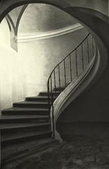 The Winding Stair (soleá) Tags: light urban blackandwhite bw beauty stairs canon dark photography europa europe fotografie zwartwit stairway spooky mysterious czechrepublic tinted curch soleá carmengonzalez