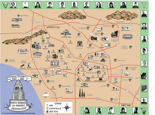 Steve Turner's Los Angeles Artists Map by Michael C. Hsiung