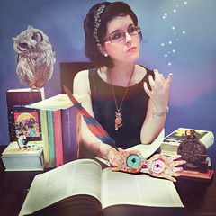 Ravenclaw. (Lunayda) Tags: blue houses girl glasses nikon magic harry potter books luna intelligence owl hogwarts quill diadem ravenclaw pottermore luvegood