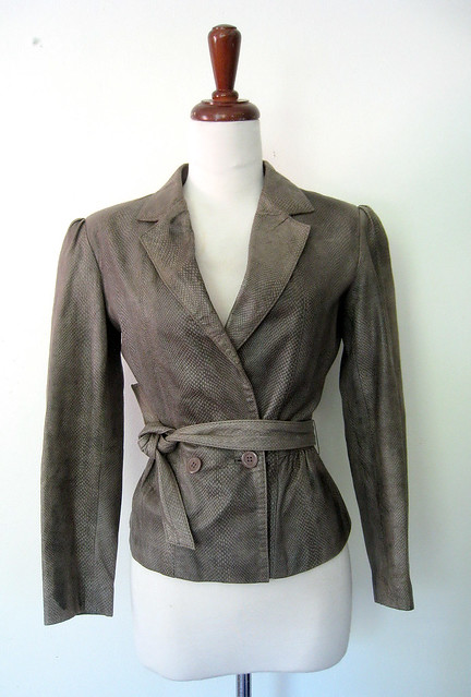 Feminine Gray Leather Jacket, vintage 80s