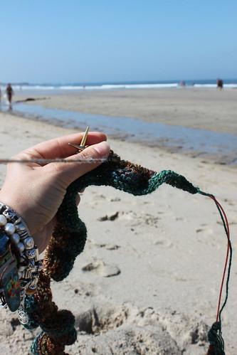 Eu a tricotar na praia de ...