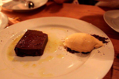 chocolate cake, chipotle ice cream, orange