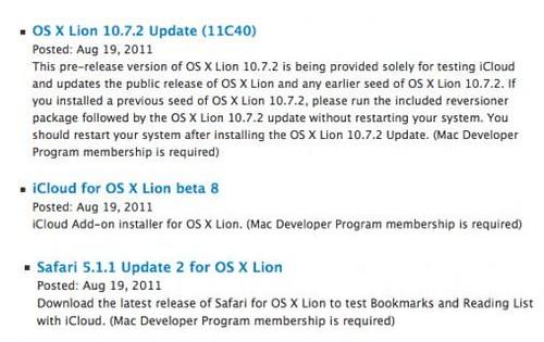 Apple OS X Lion updates