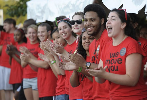 "365@VU: 232: The ""WE MOVE YOU"" crew greeting the Class of 2015 as they arrive at The Commons for Move In."