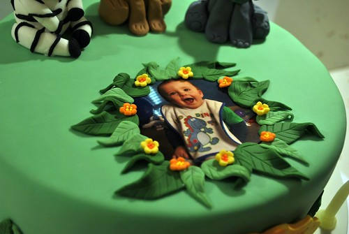 Tobys Jungle Themed 1st Birthday Cake