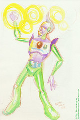 magic Robot 8-2011 (atomicbear) Tags: watercolor painting robot wizard magic kolm