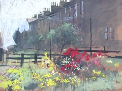 East View Barnoldswick: Art School  Sketchbook Study (skyeshell) Tags: flowers fencing gouache barnoldswick pleinair summergarden terracedhouses washingontheline freepainting iamflickr iamflikr paintingfromobservation sketchbookpainting