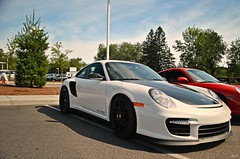 Porkers. (Andrew Waddell Photography) Tags: red black cars coffee ma massachusetts 911 exotic turbo porsche bmw production sudbury carbon guards fiber limited rs chambers rare herb supercar picnik gt2 996 813 whtie hypercar herbchamberscarsandcoffee813
