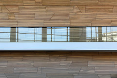 Inside the Palace of Arts 02 (Romeodesign) Tags: wood glass lines architecture reflections hungary geometry interior balcony budapest arts palace 550d palaceofarts palotja mpa mvszetek gettyhungary1