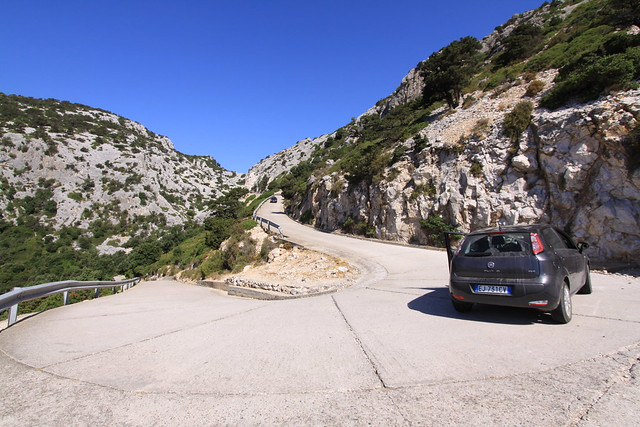 The hilly Sardinian terrain made the little Fiat Punto work hard...