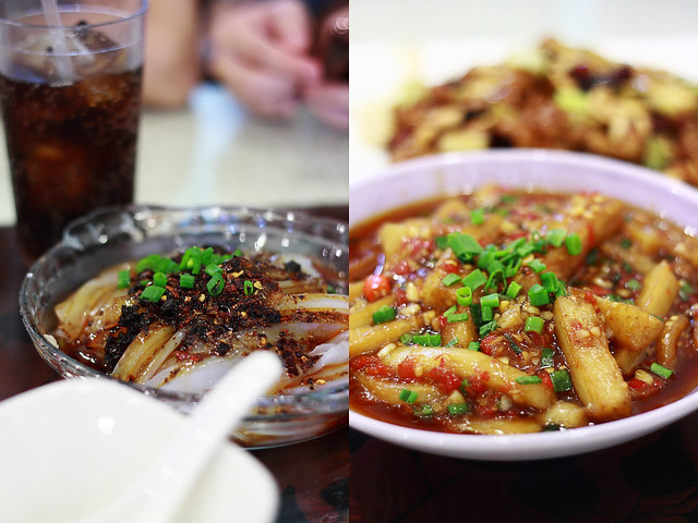 Chinatown Szechuan Food - Spicy Chilled Mung Bean Noodles (Liangfen) and Fried Eggplant