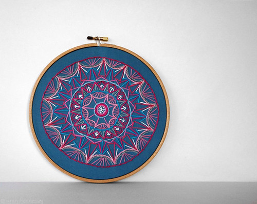 Teal, Pink and White Embroidered Mandala by Sarah Hennessey