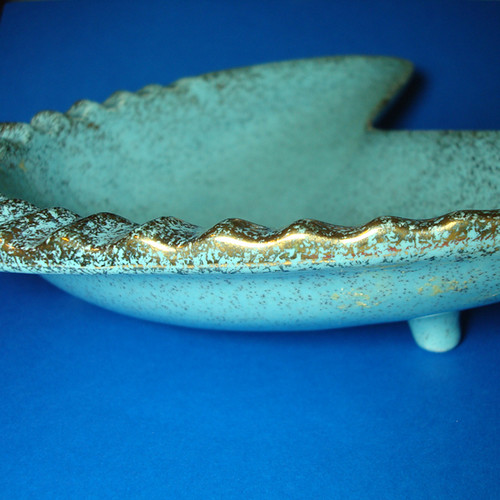 Mid Century Dish in Aqua and Gold