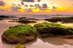 [フリー画像] 自然・風景, ビーチ・砂浜, 海, 夕日・夕焼け・日没, 201108271900