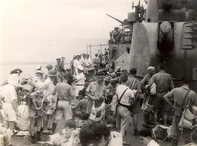 Feb. 28, 1942: HMAS HOBART [I], with evacuees from Padang, Sumatra, sails for Colombo. Photo RAN.