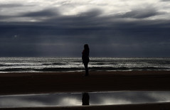 lost (Lara Cores) Tags: sea woman reflection beach girl beautiful rain silhouette clouds reflect lovely laracores