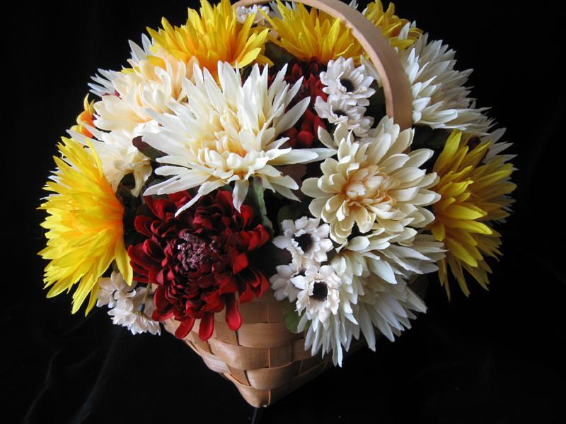 Silk Flower Arrangement Centerpiece Basket