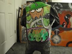 Spiffy (OppositionalDefiantDisorder) Tags: street art leather monster ball mask welding painted odd jacket