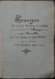 """""""Stato di consegna"""" (1852) per il riaffitto dei fondi di Villapizzone: particolare del frontespizio"""