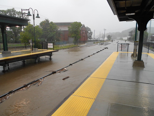 Ossining station under water coming from Sing Sing Creek.