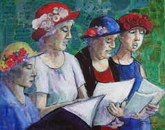 War's a Racket: Madison Raging Grannies (sethurner) Tags: music collage women acrylic mixedmedia figures raginggrannies
